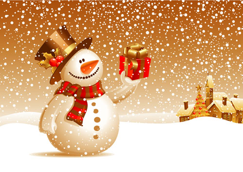Christmas Card Background, Icons and Snowman | Design Swan