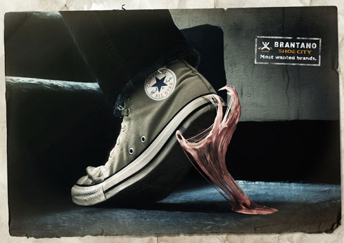 creative advertisement design about shoes