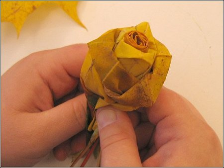 Rose made by leaves