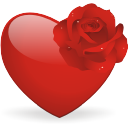 valentine icon heart and rose